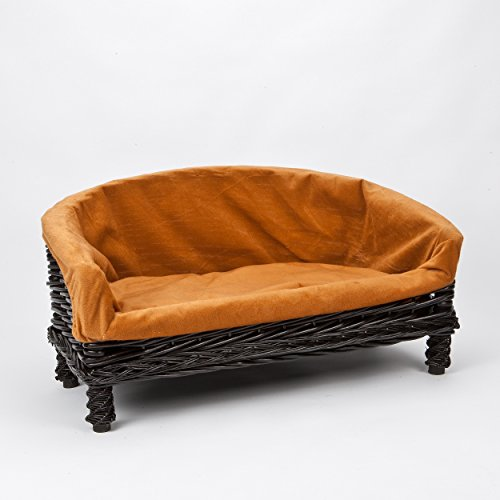 Luxurious Premium Wicker Pet Dog Sofa Bed With Cushion Small Medium Large Sizes