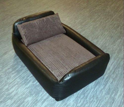 Zippy Faux Leather Divan Pet Dog Bed - Medium - Black & Brown Jumbo Cord