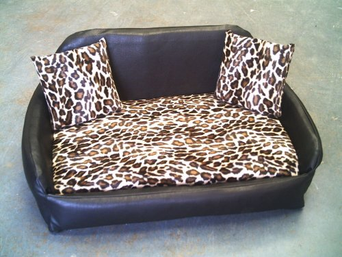 zippy faux leather sofa pet dog bed - medium - brown/leopard