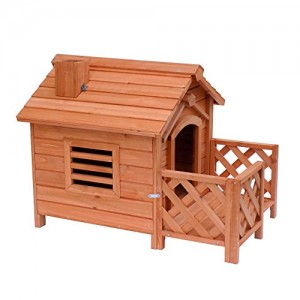 BTM Dog Kennel wooden Dog kennels Garden Outdoor Dog Houses Pet Puppy House With Balcony