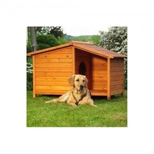 Large Wooden Dog Kennel. Sturdy and Attractive Outdoor Wood Dog Kennel & Sheltered Patio Make For a Special Home For Your Pet.