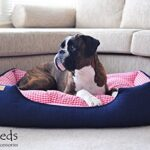 Luxury-Denim-Dog-Bed-with-Gingham-Check-0