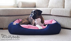 Luxury Denim Dog Bed with Gingham Check