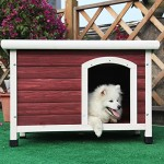 Petsfit Insulated Wooden Dog Kennel with Removable Floor for Easy Cleaning, Red Color, Wooden Kennel Pitch Roof, Outdoor Wood Dog Kennel and Shelter