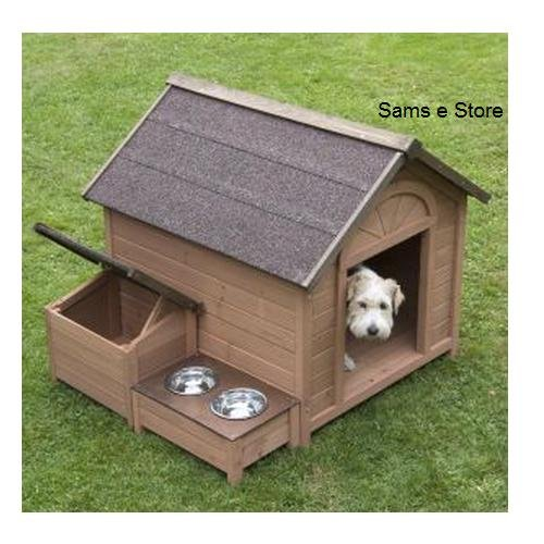 Sylvan Comfort FSC Large Dog Kennel Pup Dog House House Pet, A lovely dog kennel with pitched roof which opens up, separate roofed storage section and raised feeding area. The Sylvan Comfort FSC Dog Kennel is made using FSC certified wood.
