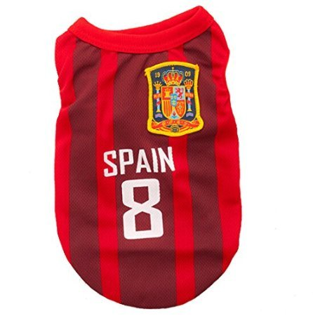 Animally Spain Jersey for Dogs-Football Dog Pet Clothes Shirt Apparel