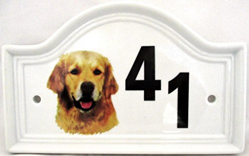 Golden Retriever House Door Number Plaque Ceramic Dog Number Sign Any Number Available Hand Decorated in the U.K. Free UK Delivery