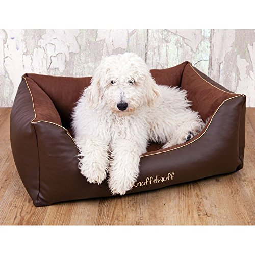 Knuffelwuff Ray Leather-Velour Dog Bed, Medium/Large, 85 x 63 cm
