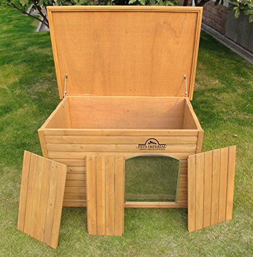 Pets Imperial® Large Insulated Wooden Norfolk Dog Kennel With Removable Floor For Easy Cleaning