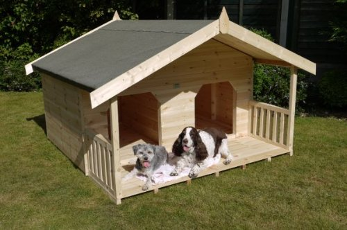 Luxury Double Dog Kennel Summerhouse for 2 Large Dogs, Unique Design, Manufactured in Swedish Redwood Timber T&G  Please Note Restricted Delivery Areas