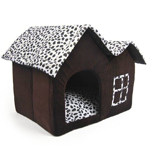 luxury high-end double pet house brown dog room 55 x 40 x 42 cm dog outfit