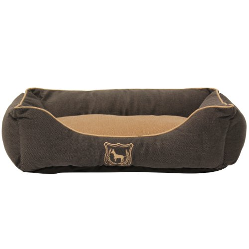 Mool Rectangular Cushioned Dog Bed, Width: 50 cm (20 inches), Graphite Blue/ Brown