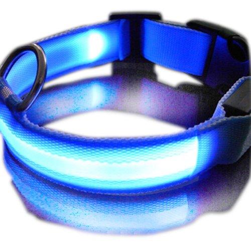 Zehui New Blue Nylon LED Dog Night Safety Collar Flashing Light up W/circular Pendant Collar