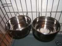 2 Stainless Steel Rosewood Dog Bowls For Cage Crate Hook