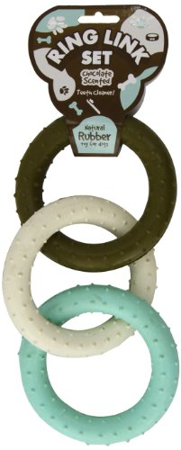 House of Paws Natural Rubber 3 Ring Link Set Dog Toy, Chocolate Flavour, One Size, 8-inch