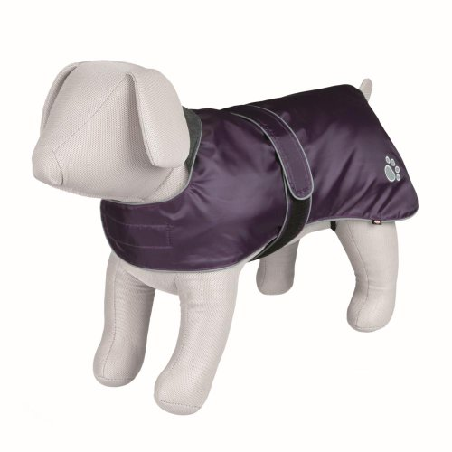 Orléans Dog Coat, Purple, with Soft Fleece Lining & Paw Motif, M - 45cm