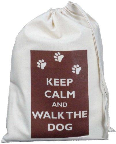 Keep Calm and Walk the Dog- Small Natural Cotton Drawstring Bag