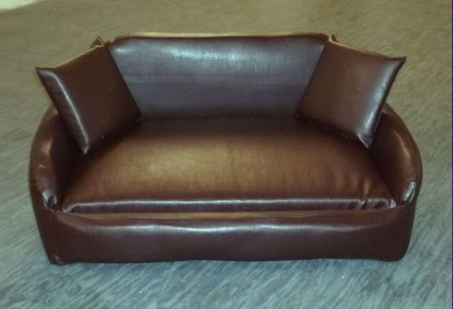 Zippy All Faux Leather Sofa Pet Dog Bed - Medium - Brown