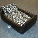 Zippy Pet Dog Bed - Faux Leather Divan - Medium - Colour Black/Leopard
