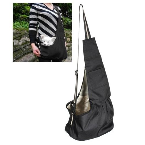 Black Pet Dog Puppy Strap Sling Shoulder Bag Carrier (L)
