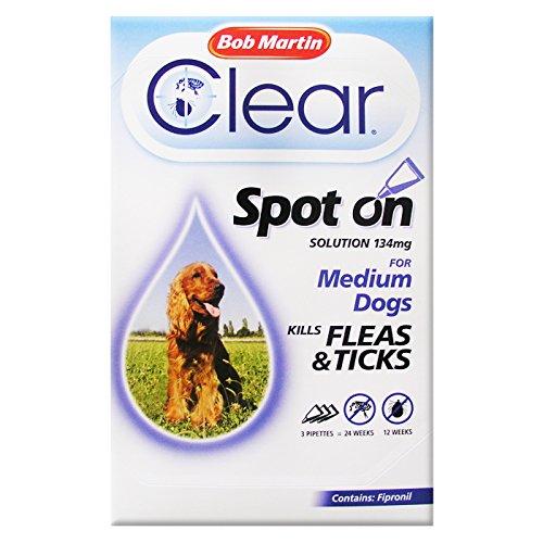 Bob Martin Flea Clear Fipronil Spot on 3 Tube for Medium Dog