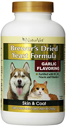 Naturvet Brewers Yeast and Garlic Tablets, 500 Pills