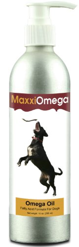 Omega Oil For Dogs - MaxxiOmega Fatty Acid Formula For Dogs - Omega 3 6 9 Supplement - Liquid Fish Oil - Essential Fatty Acids - DHA & EPA - Contains Biotin - Natural Antioxidants - Vitamins - Canine Health Benefits - Anti Inflammatory - Dog Skin Care - Shiny Dog Coat - Easy To Use Pump - 100% Risk Free Guarantee