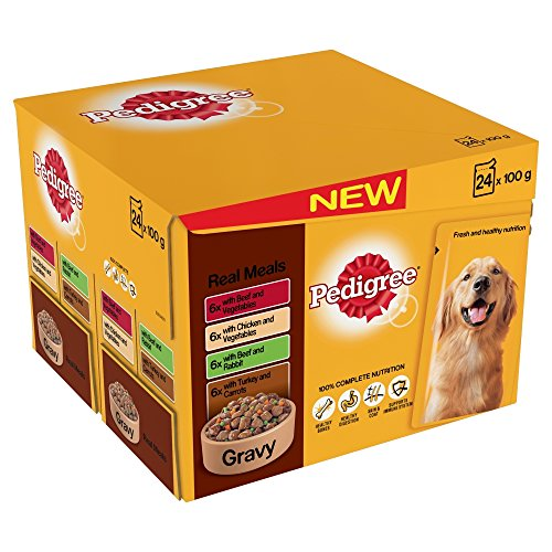 Pedigree Pouch Dog Food Gravy Real Meals 24x100g (Pack of 2, Total 48 pouches)