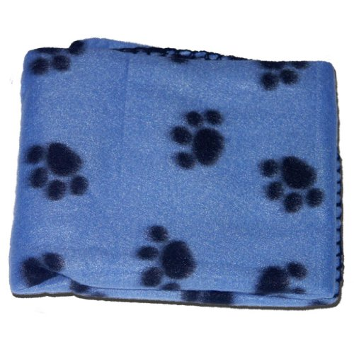 BLUE SOFT COSY WARM FLEECE PAW PRINT PET BLANKET DOG PUPPY ANIMAL CAT BED