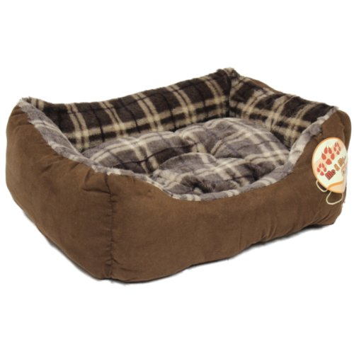 Me & My Brown Check Small Super Soft Dog Bed