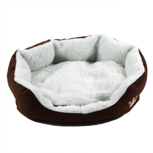 douself Fabric Pet Dog Nest Puppy Cat Soft Bed Fleece Warm House Kennel Plush with Mat Cushion (Coffee)