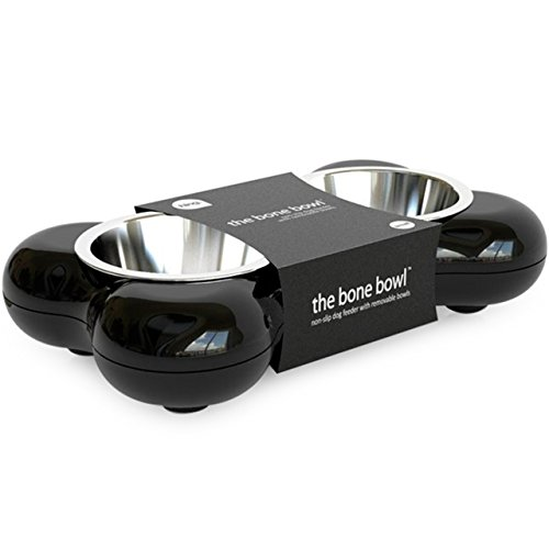 Hing Designs The Bone Bowl with Non Slip Rubber Feet and Dishwasher Safe Removable Stainless Steel Bowls, Black