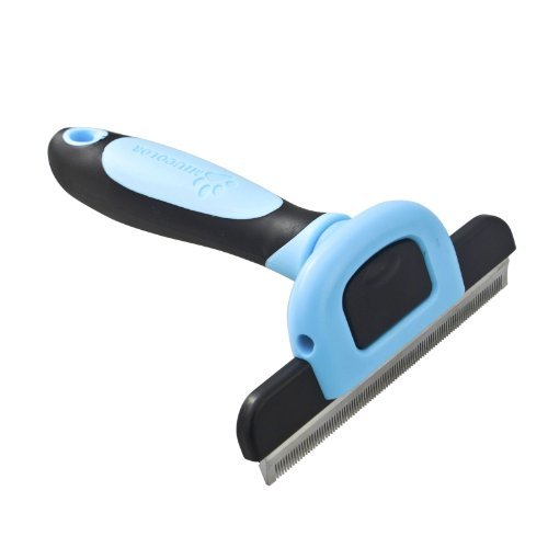 MIU COLOR® Pet Deshedding Tool& Grooming Tool for Small, Medium & Large Dogs + Cats, with Short Hair and Long Hair Dogs & Cats (Size: Large with 4-Inch Edge)-Blue