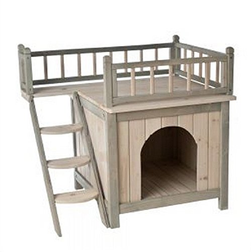 Indoor Wooden Dog / Cat House Den Finished in a Grey and White Colour is a Fairytale Wood Kennel For Your Cat or Dog. With a Roof Terrace and Cosy Bedroom, it's a Home For Discerning Cats and Dogs!