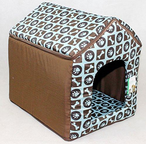 LUXURY SOFT PLUSH FABRIC DOG HOUSE WITH DETATCHABLE ROOF