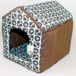 LUXURY SOFT PLUSH FABRIC DOG HOUSE WITH DETATCHABLE ROOF & REMOVABLE MACHINE WASHABLE