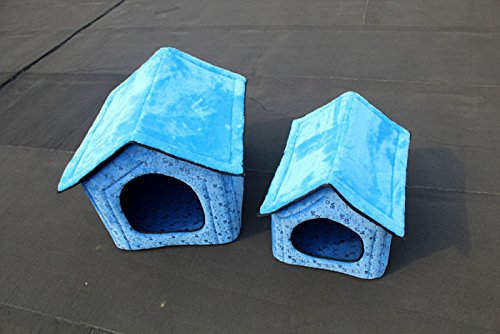 Pet Dog House Large Dog Bed Cat Bed Pet Nest Dog Kennel Soft Blue Two Size