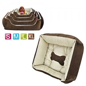 Outdoortips Super Soft Washable Comfy Dog/Puppy/Cat/Pet Bed Cushion Fleece S/M/L/XL in Black & Coffee