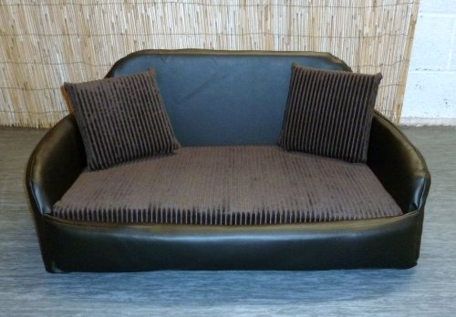 Zippy Faux Leather Sofa Dog Bed - Large - Black/Brown Jumbo Cord
