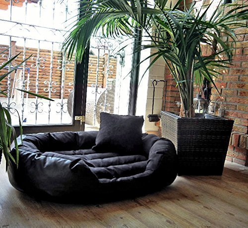 tierlando Dog Bed Philip Dog Sofa - Faux Leather - Inflammable - XL 110cm - Black - Great Dane Ph4-LL-03-GB
