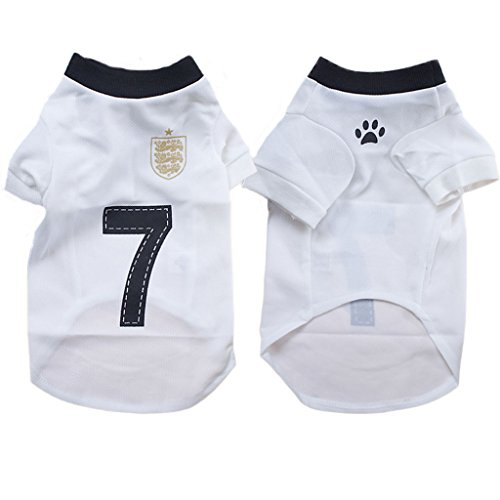 PAWZ Road Pet Dog Soccer Clothes Puppy Football T-shirt Dog Sweater for England Home Sport Jersey