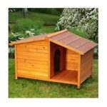 Small Wooden Dog Kennel. Sturdy and Attractive Outdoor Wood Dog Kennel & Sheltered Patio Make For a Special Home For Your Pet.