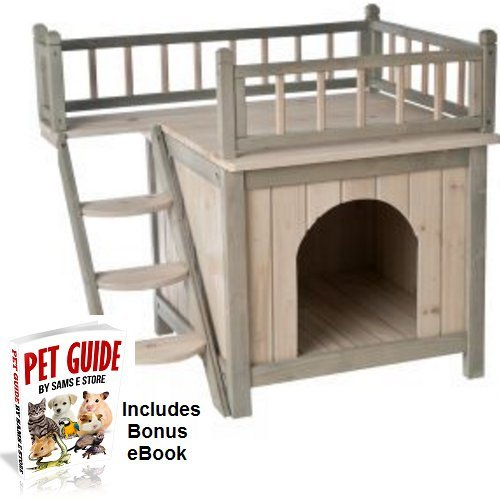 Wooden Cat House Dog Den Balcony Terrace Maisonette Kitten Puppy Indoor