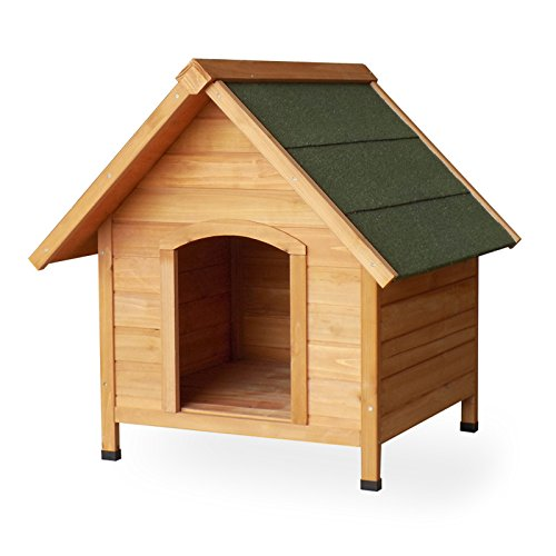 Dog kennel Dog house Animal house Spruce wood Tar roof Solid timber 720x760x760 mm