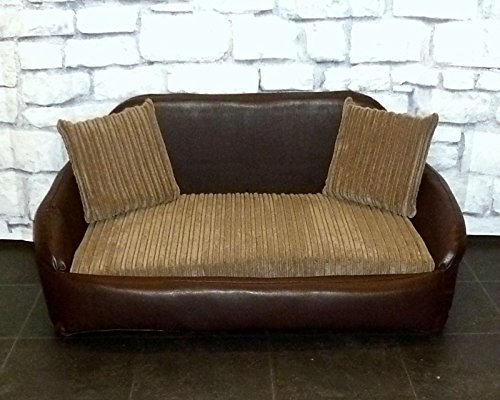 Zippy Small Sofa Dog Bed - Brown Faux Leather + Mocha Chunky Cord - Wipe & Wash Clean